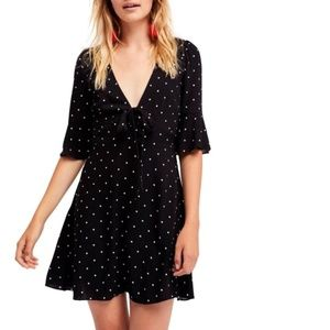 FREE PEOPLE Polka Dot Tie Front All Yours Dress